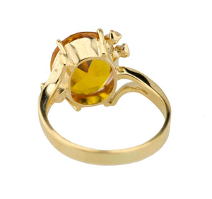 Estate 14K Yellow Gold 2.52 CT Citrine Oval Cut Diamond Accent Cocktail Ring