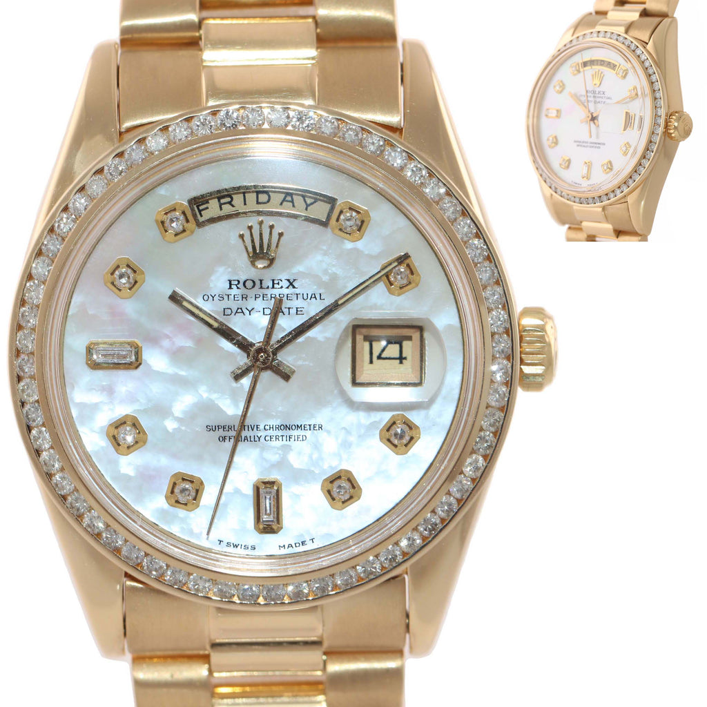 DIAMONDS Rolex Day-Date President 1803 18k Yellow Gold MOP Diamond Watch