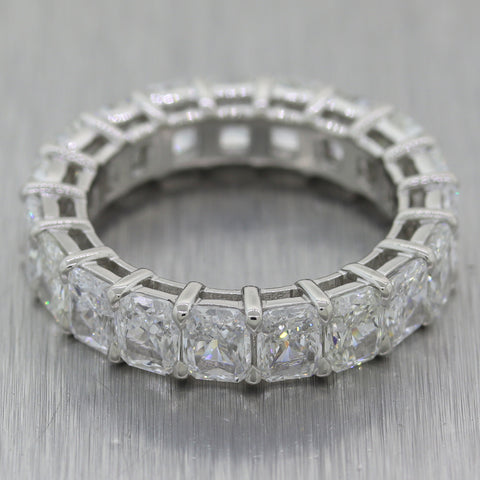 Modern Platinum 6.61ctw Radiant Cut Diamond Eternity Band Ring