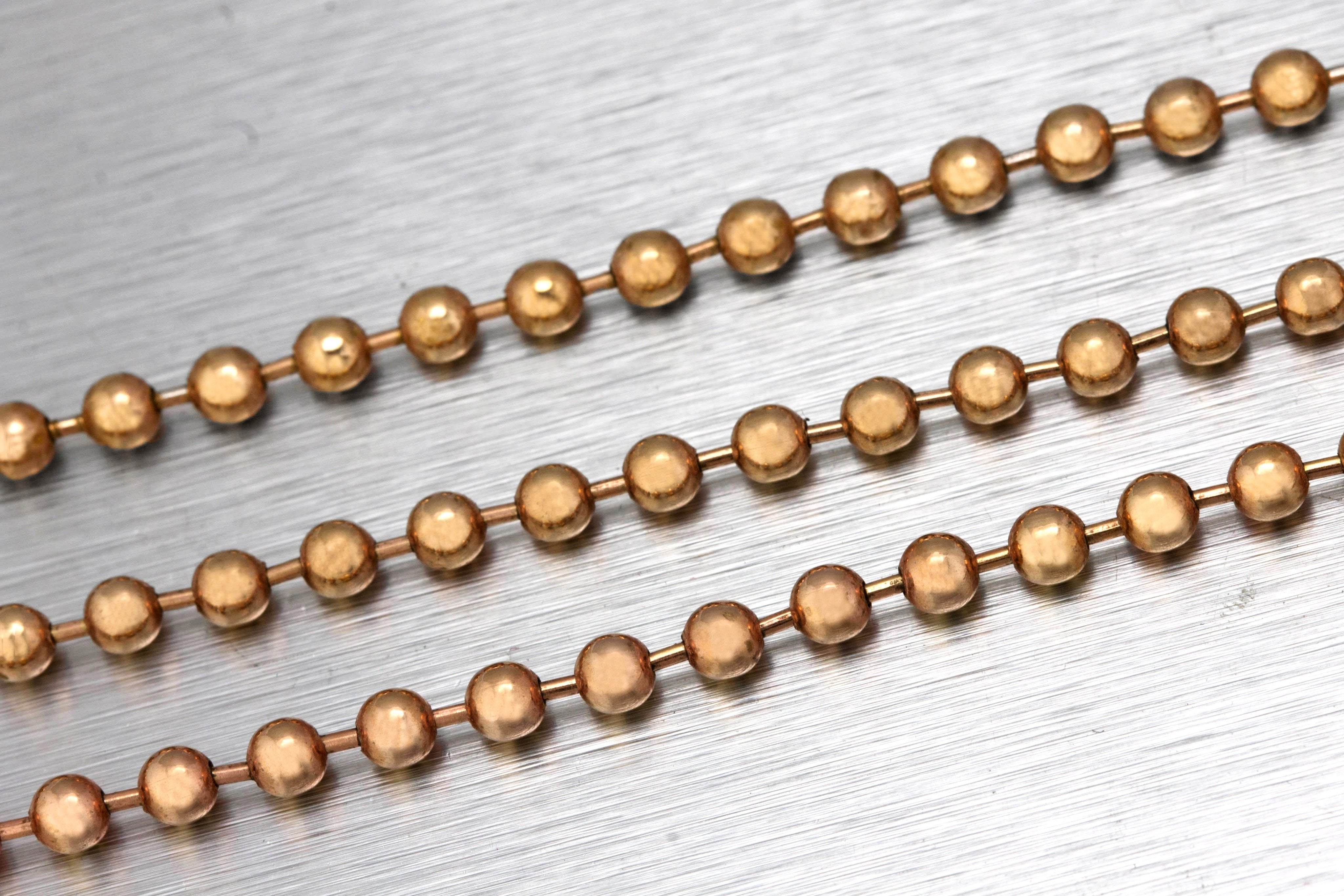 "Ladies Italian Vintage 14K Rose Gold 4mm Toilet Ball Chain 26.00"" Necklace 26.5g"