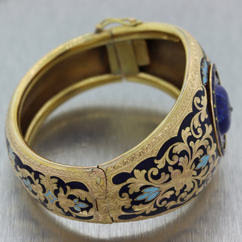 1880's Antique Victorian 18k Yellow Gold Blue Enamel 0.25ctw Diamond Bracelet