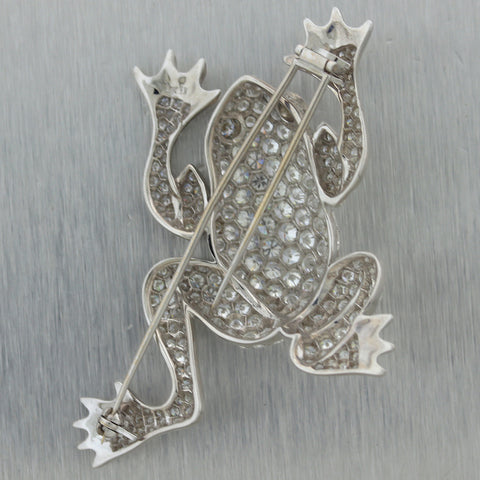 Vintage Estate 18k White Gold 20ctw Diamond Frog Brooch Pin