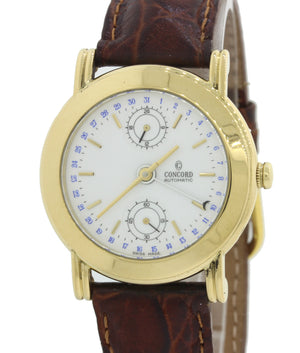 Concord Solid 18k Gold 50B2210 24 Hour Date Automatic 36mm White Watch B&P