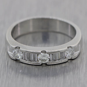 Vintage Estate Platinum 0.50ctw Baguette & Round Cut Diamond Wedding Band Ring