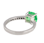 Stunning Ladies Modern 14k White Gold 1.64 CT Emerald Asscher Cut Diamond Ring