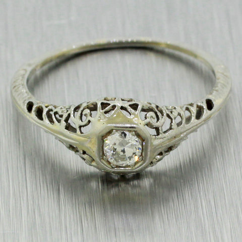 Antique Art Deco 14k Solid White Gold 0.15ctw~ Diamond Filigree Band Ring