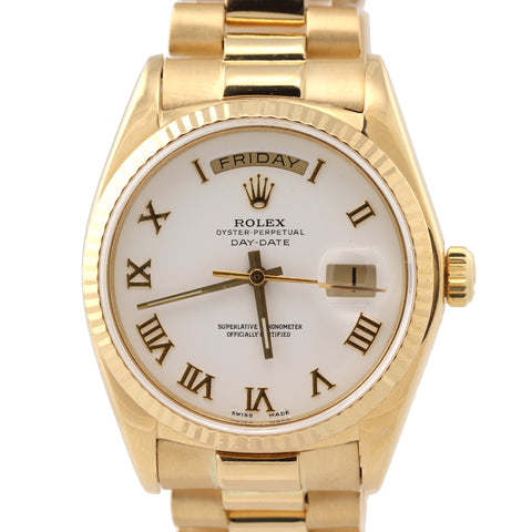 Rolex Day-Date President 18038 18k Yellow Gold White Roman Watch D8