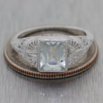 1930's Antique Art Deco 14k White Gold Aquamarine Ring