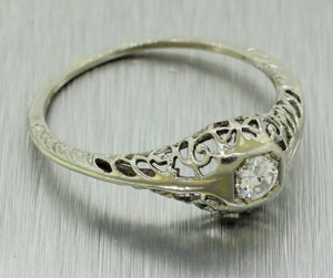 1930's Antique Art Deco 14k Solid White Gold 0.15ctw Diamond Filigree Band Ring