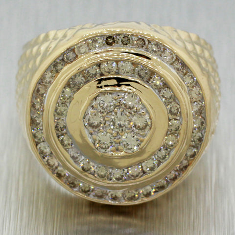 Vintage Estate 14k Solid Yellow Gold 1.67ctw~ Diamond Men's Chunky Pinky Ring