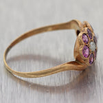 1880's Antique Victorian 14k Yellow Gold 0.80ctw Pink Sapphire Flower Ring