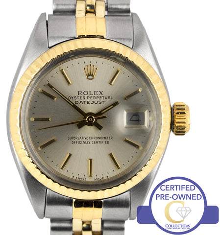 Ladies Rolex DateJust 6917 Silver Stick 26mm Two-Tone 14K Gold Jubilee Watch