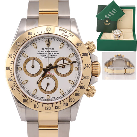 2015 BLUE LUME Rolex Daytona 116523 White Steel 18k Gold Two Tone Watch