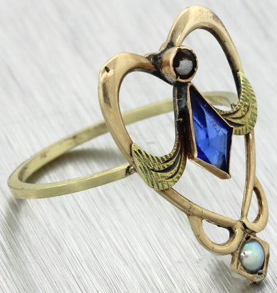 1880s Antique Victorian 14k Yellow Gold Large Open Heart Blue Seed Pearl Cocktail Ring