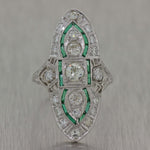 1930s Antique Art Deco Platinum 1.50ctw Diamond Emerald Cocktail Ring