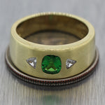 Vintage Estate 14k Yellow Gold 0.70ctw Tsavorite & Diamond Ring
