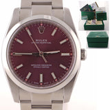 2015 MINT Rolex Oyster Perpetual 34mm Red Grape Stick Dial 114200 Watch D8