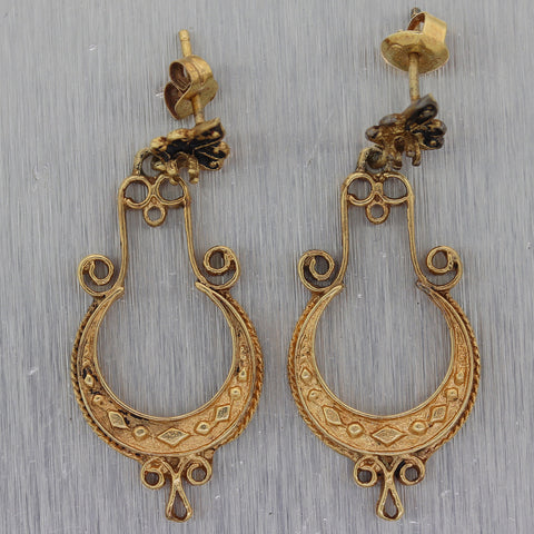 1880's Antique Victorian 14k Yellow Gold Dangle Earrings