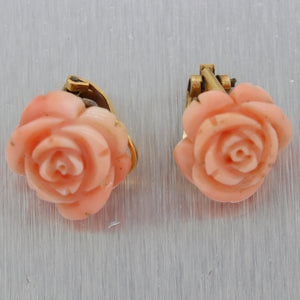1960's Vintage Estate 18k Yellow Gold Carved Coral Flower Earrings