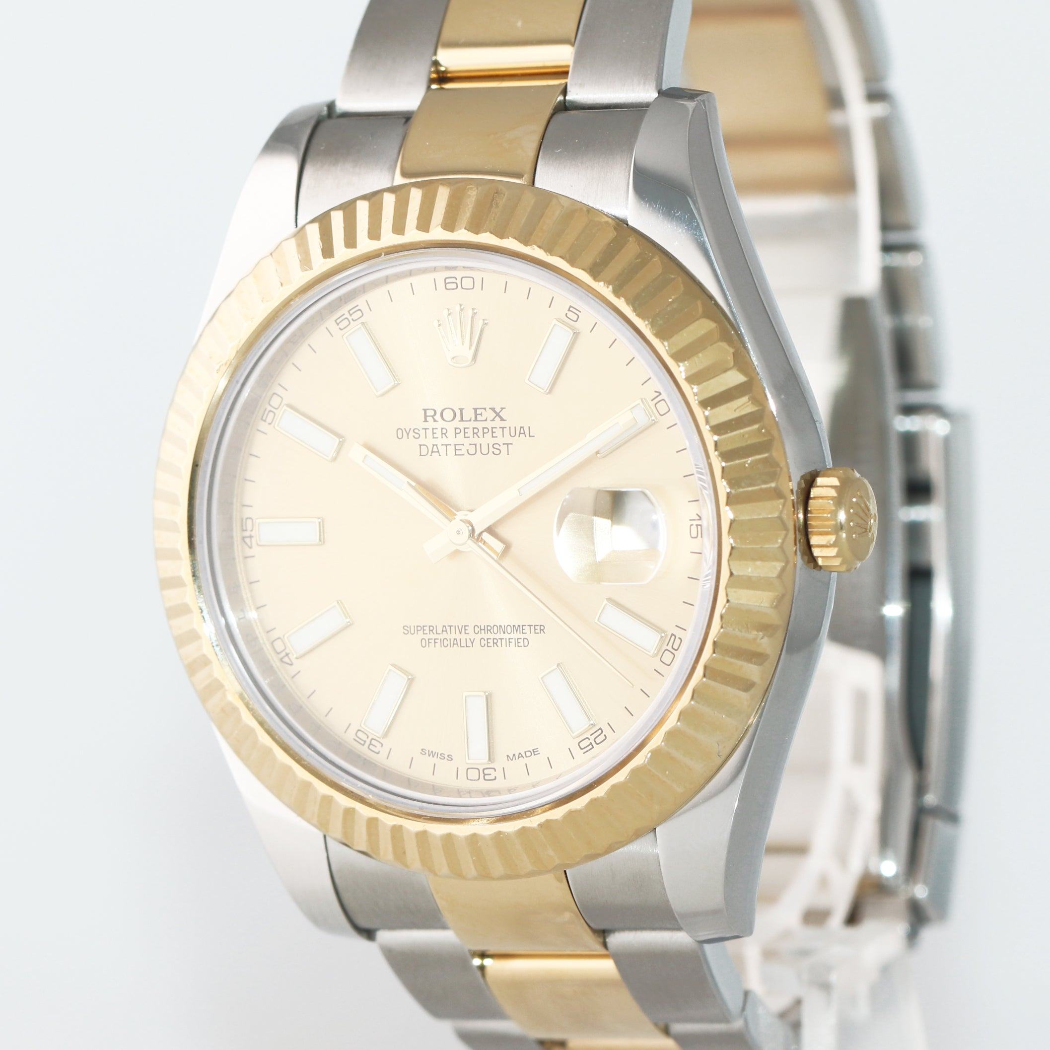 2015 PAPERS MINT Rolex Datejust 2 Champagne Stick 116333 Two-Tone Gold Watch