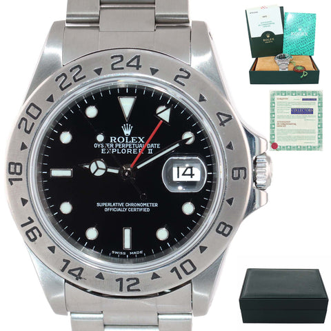 PAPERS Rolex Explorer II 16570 Stainless Steel Black Date GMT 40mm Watch