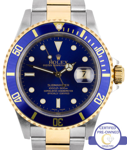 MINT 2004 Rolex Submariner 16613 No Holes Two-Tone Blue Date Dive 40mm Watch SEL