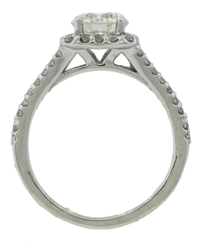 Ladies Modern Estate Halo 1.83ctw Round Diamond Platinum Engagement Ring EGL USA