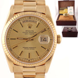 MINT Rolex Day-Date President 18k Gold Quickset Champagne 18238 Watch Papers D8