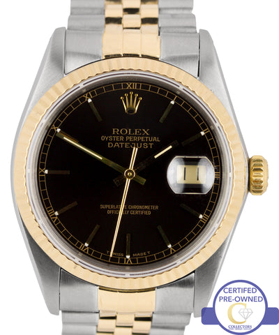 Rolex DateJust 36mm 16013 Two-Tone 18K Gold Stainless Steel Black Jubilee Watch