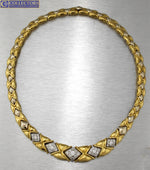 Ladies Italy Garavelli 18K 750 Yellow Gold 2.10ctw Pave Diamond Collar Necklace
