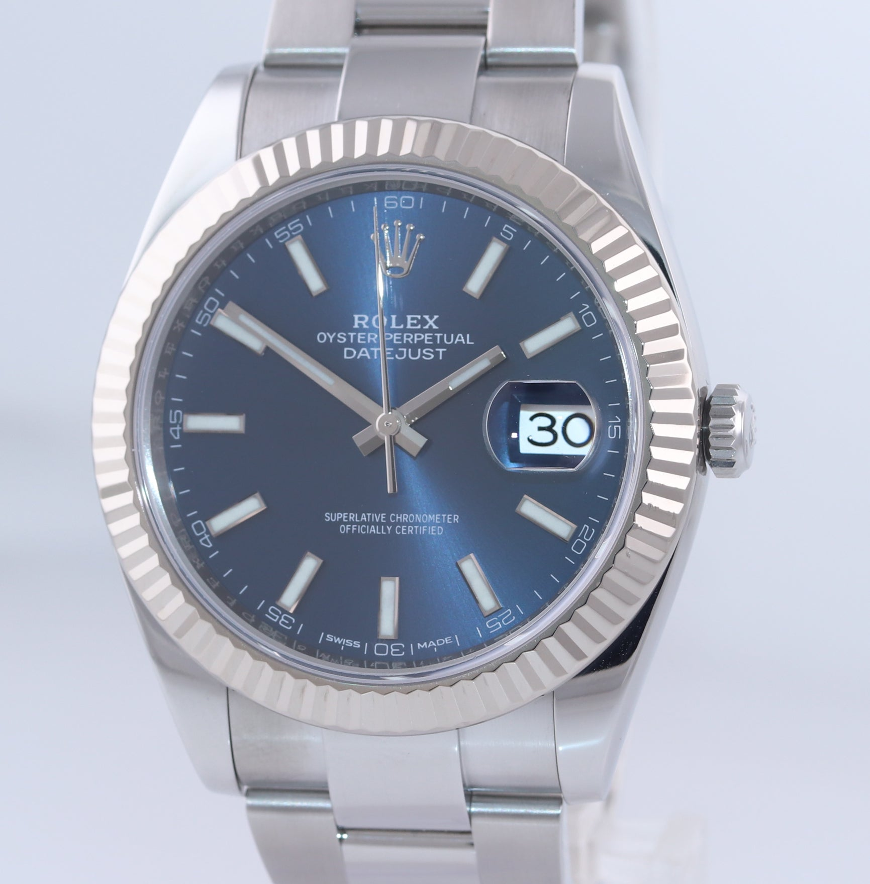 NEW 2020 Rolex DateJust 41 126334 Blue Stick Dial Steel Fluted  Oyster Watch Box