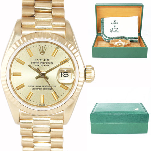 Ladies Rolex DateJust President Band 26mm Champagne Stick 18k Yellow Gold Watch