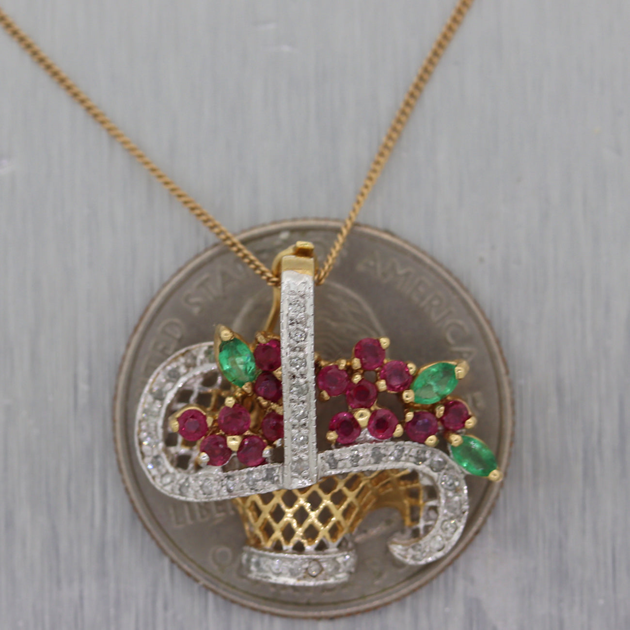 "Vintage Estate 14k Yellow Gold 0.80ct Diamond Ruby & Emerald Basket 18"" Necklace"