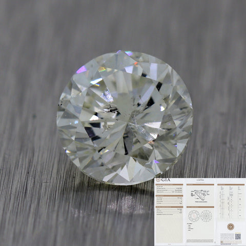 3.09ct GIA Round Shape Brilliant Cut L I2 Natural Modern Loose Diamond