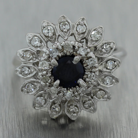 Vintage Estate 14k White Gold 0.80ctw Sapphire & Diamond Flower Ring