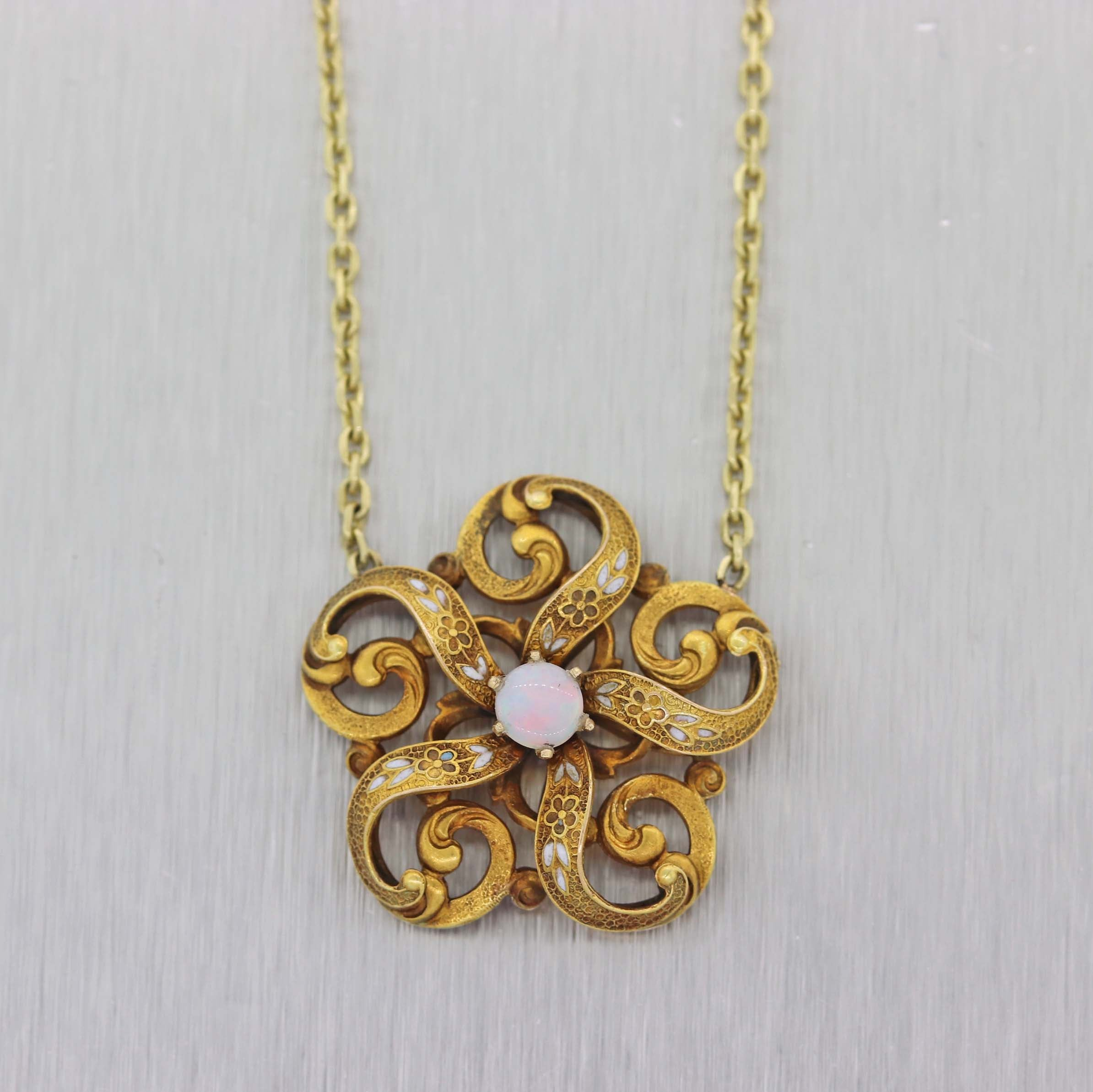 1870s Antique Victorian 14k Yellow Gold .33ct Opal Flower Pendant Chain Necklace