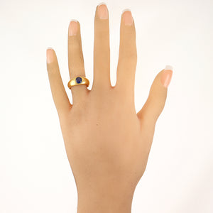1890's Antique Victorian 18k Yellow Gold 1ct Ceylon Sapphire Band Ring