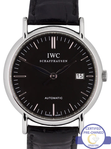 MINT IWC Portfofino Steel Black 39mm Automatic Date Watch IW356308 3563 3563-08
