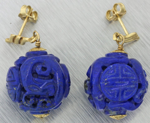Vtg Estate Solid 14k Yellow Gold Chinese Carved Lapis Lazuli Drop Dangle Earrings