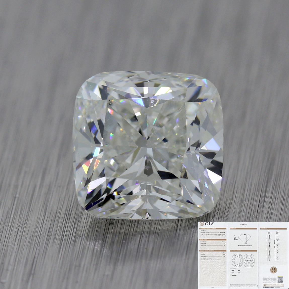 4.14ct GIA Cushion Modified Brilliant Cut H VS2 Natural Modern Loose Diamond