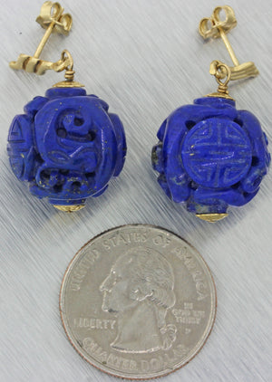 Vintage Estate 14k Yellow Gold Chinese Carved Lapis Lazuli Drop Dangle Earrings