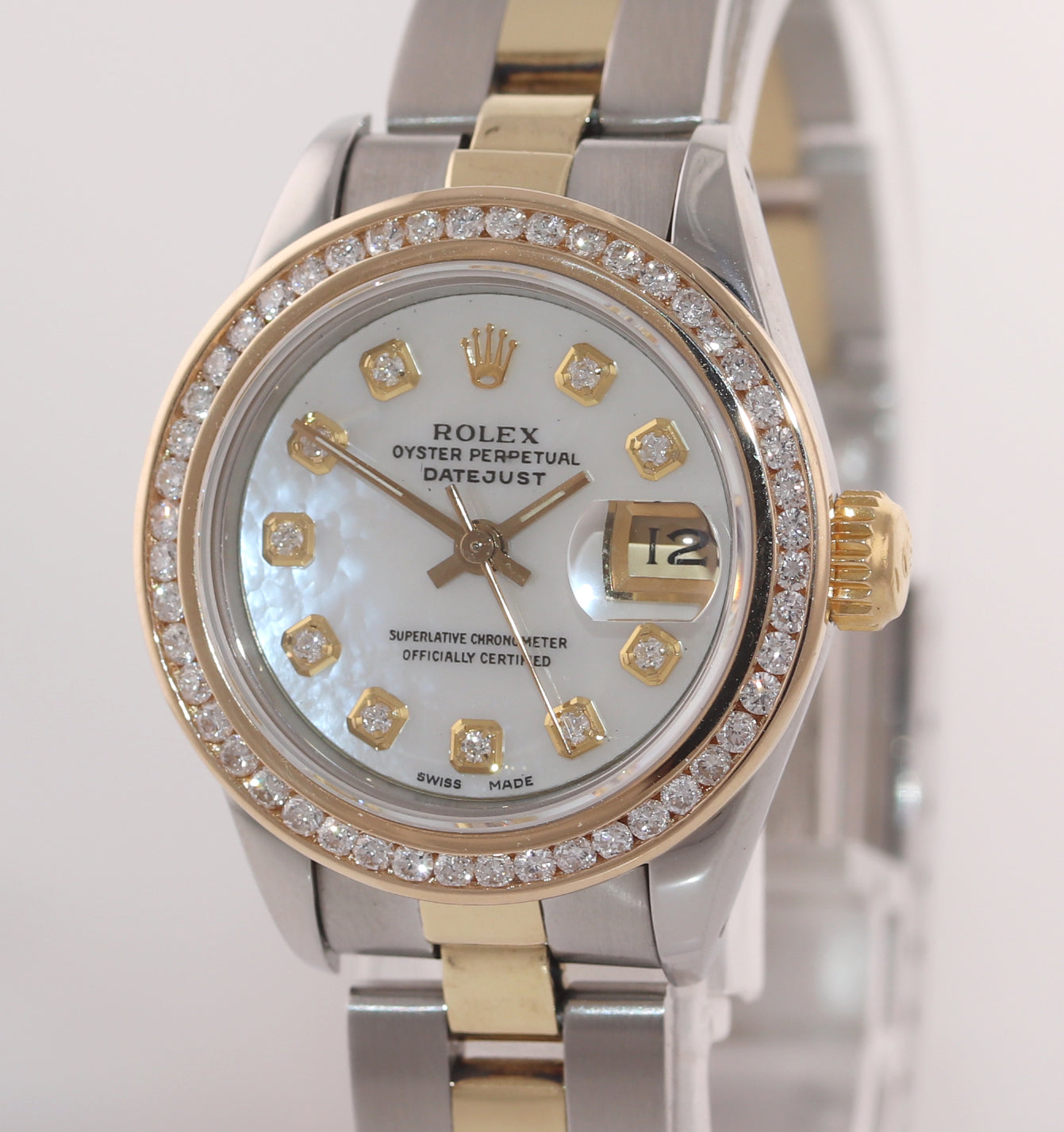 MINT Ladies Rolex DateJust 69173 White MOP Diamond 26mm Two-Tone Oyster Watch