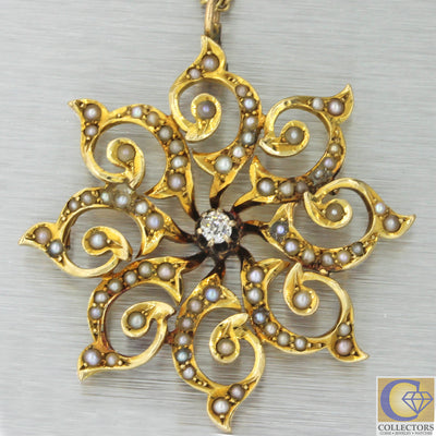 1920s Antique Art Deco Nouveau 14k Yellow Gold Diamond Seed Pearl Pendant