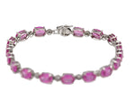 "Ladies Estate 10K White Gold Pink Sapphire Gemstone 7.00"" Tennis Bracelet"