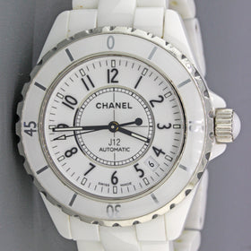 RARE Chanel Paris J12 H0970 White Ceramic Steel 38mm Automatic Date Watch