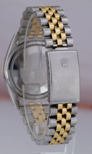Rolex DateJust 36mm Two-Tone Yellow Gold Tapestry Champagne Jubilee Watch 16013