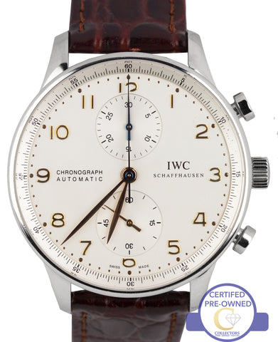 MINT IWC Portuguese Chronograph Stainless Brown 41mm 3714 3714-01 IW371401 Watch