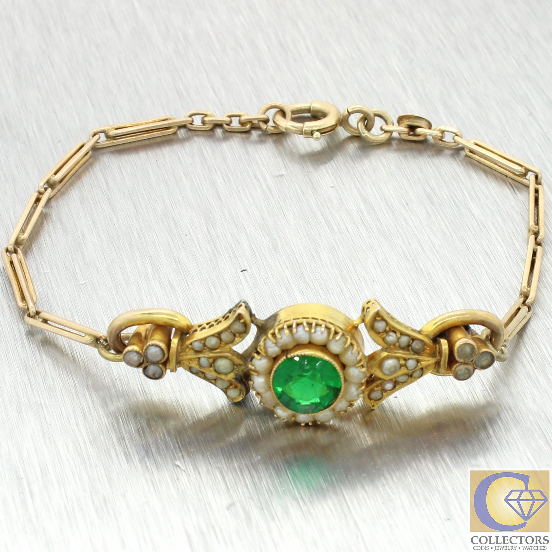1880s Antique Victorian Estate 14k Yellow Gold Emerald Seed Pearl Bracelet