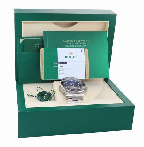 NEW 2019 PAPERS Rolex Sea-Dweller Deepsea Cameron Blue 126660 44mm Watch Box