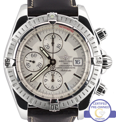 Breitling Chronomat Evolution Chronograph Steel A13356 44mm Silver Date Watch
